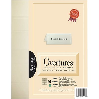 """Overtures"" place cards"